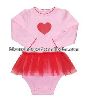 Hot sale baby 100 cotton body suit with 2 layers tulle and rose heart