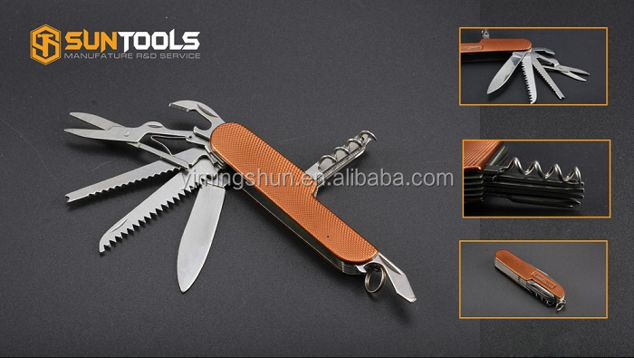 Mini multi function stainless steel pocket folding knife with LED flashlight