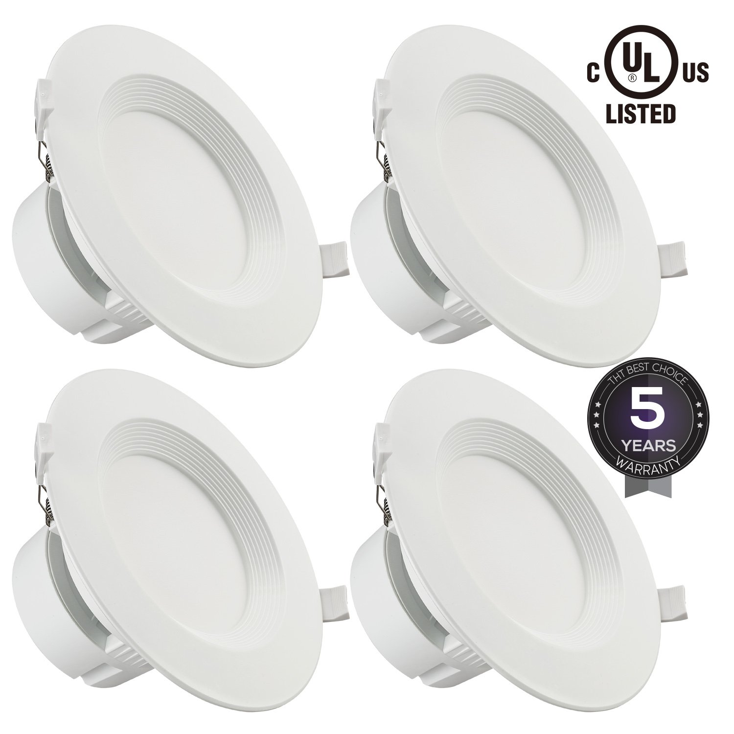 """TORCHSTAR 4 PACK 6"""" LED Recessed Downlight with Junction Box, 9W (80W Equivalent) Dimmable LED Ceiling Light Fixture, IC-Rated & Air Tight, Wet Location, 5000K Daylight, UL-listed, 5 Years Warranty"""