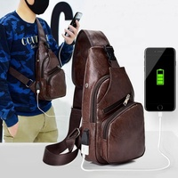 New male USB charging anti theft chest bag casual retro pu shoulder bag men's outdoor riding sports