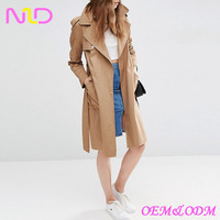 women fitted khaki Trench coat with Split Back