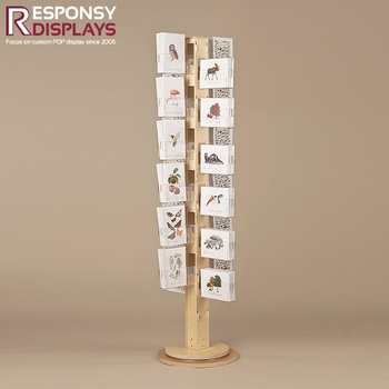 Modern Wooden Design Book Rack Revolving Floor MDF Magazine And Brochure Display Stand