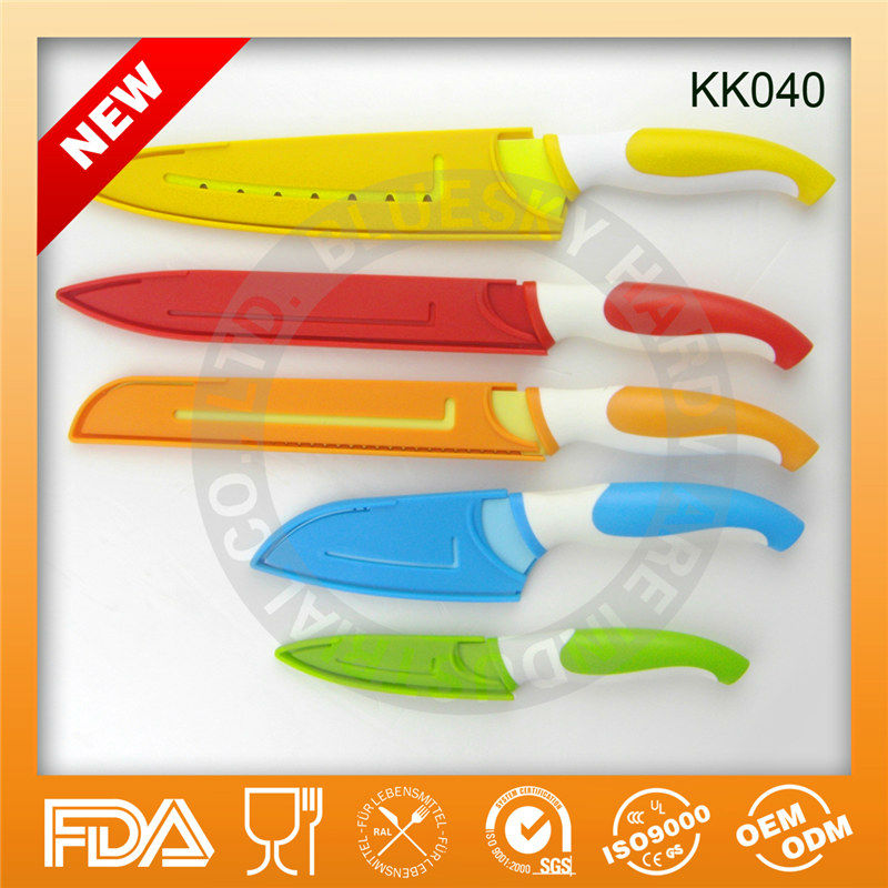 Discounts color blade non-stick kitchen knife set KK040