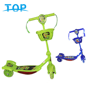 Children's Kids Kick Scooter Baby PVC 3 Wheels Music Toy Bodybuilding Scooter With Light And Basket