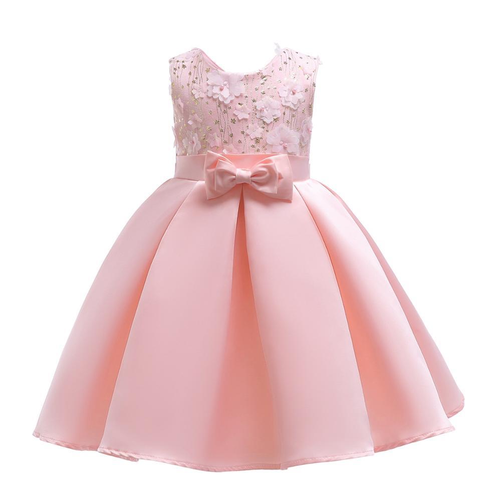 6e4627e2a Vestido de verano niñas cinturón de satén con arco niñas vestidos de flores  rosa ...