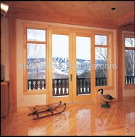 Top Quality Aluminum Cladding Wood Entry door with Double Glazing