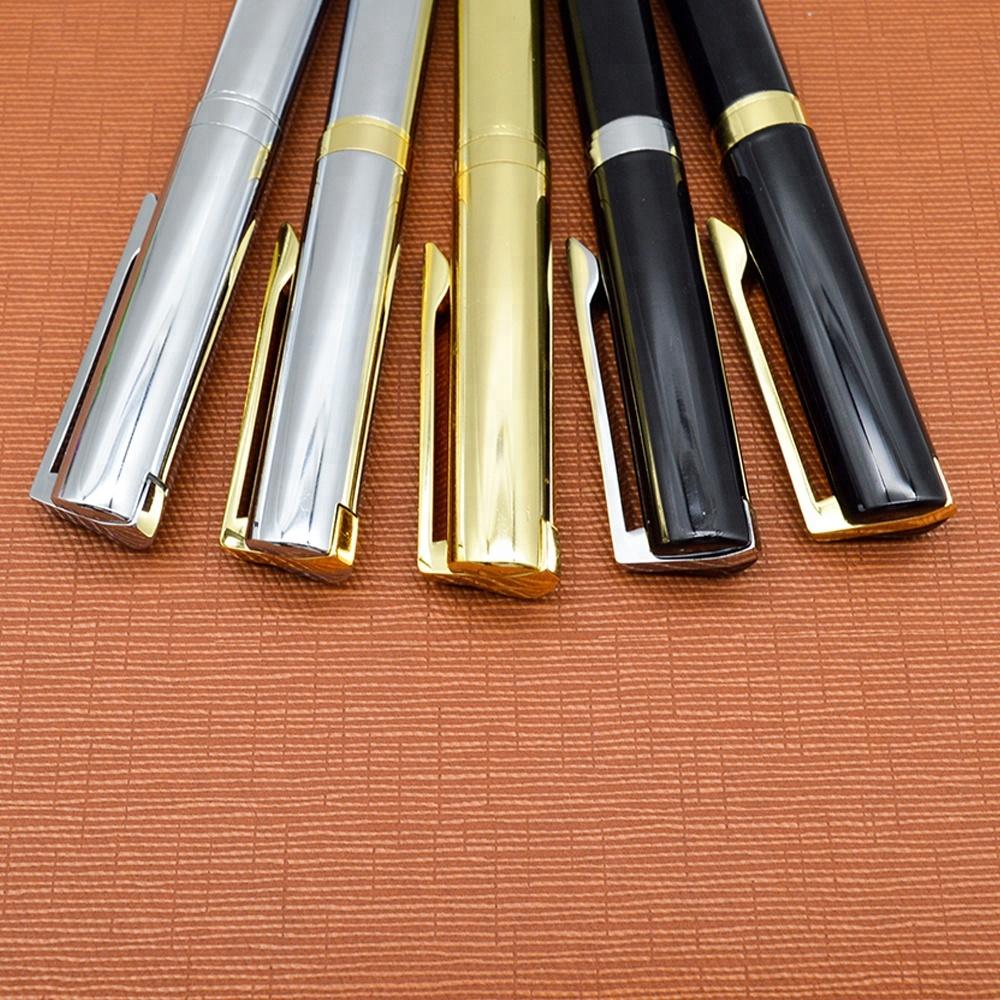 Best business gift customized logo metal bright chrome ballpoint pen