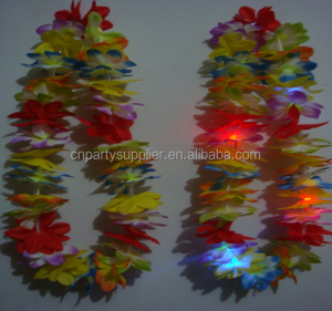 LED Light Up Hawaiian Silk Flower Leis