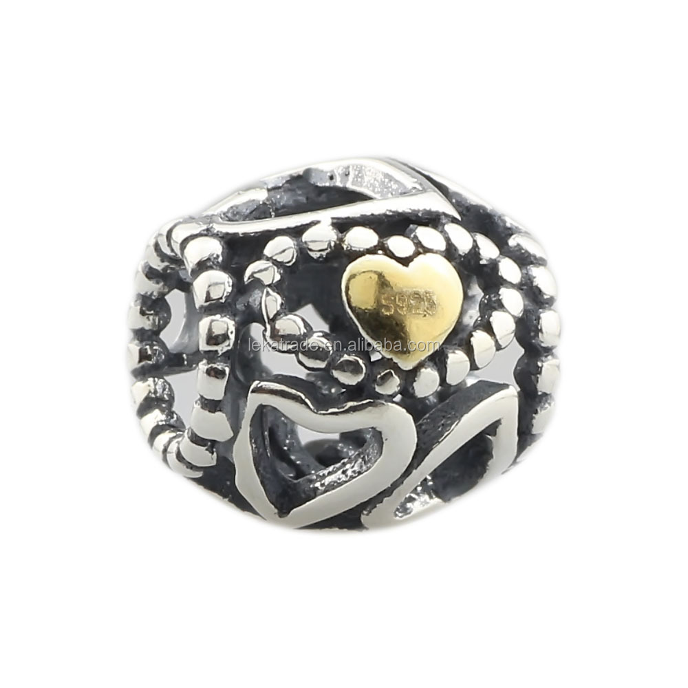 Wholesale I Love You Heart Bead Valentine Gift Genuine 925 Sterling Silver Charm