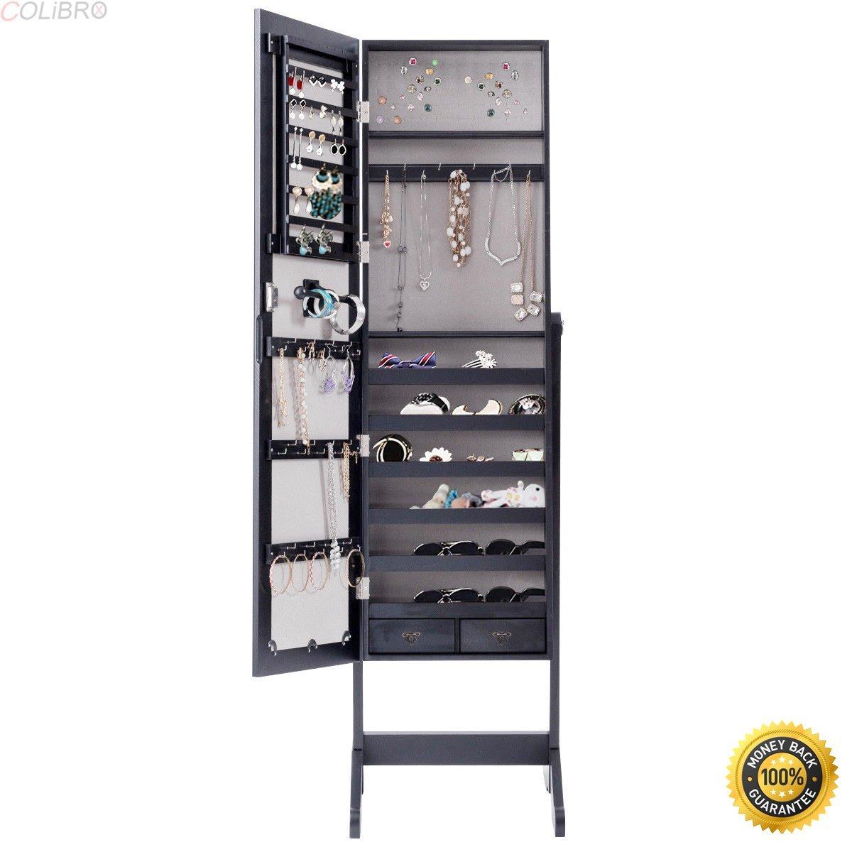 COLIBROX-Mirrored Jewelry Cabinet Armoire Storage Organizer Box w/ Drawers,jewelry storage organizer,jewelry cabinets furniture,armoires for sale,mirror jewelry armoire,jewelry cabinet