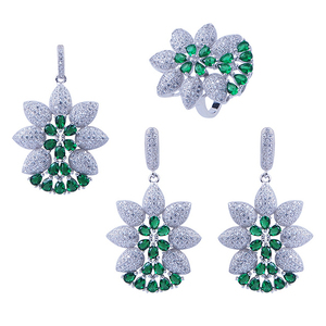 2015 fashion silver synthetic green stone jewellery set