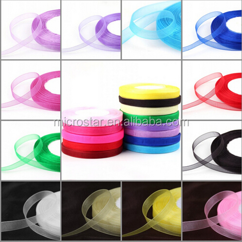 10 mm Sewing Tape Valentines Day Accessory Chiffon Fabric Gift Wrapping Wedding Scrapbooking Roll Stain Organza Ribbon
