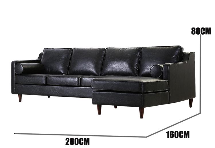 American vintage PU picture of furniture living room wooden sofa set design
