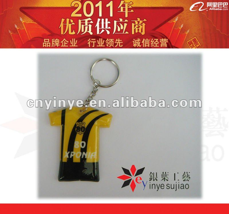 cloth design pvc key chain with led light