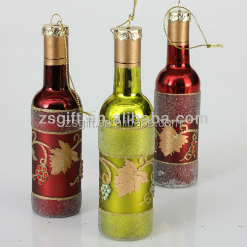 Christmas decorations item type bottle shape glass Christmas tree ornament wholesale 2016