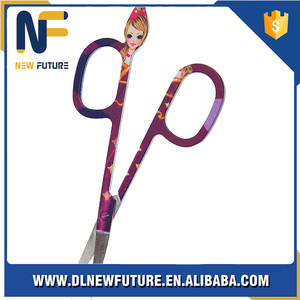 Stainless steel curve line sharp eyebrow scissors NF-J002A-C