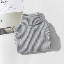 Детский свитер с воротником под горло осенне-зимний однотонный Вязаный топ с длинными рукавами для девочек 4, 5, 6, 7, 8, 9, 10, 11, 12 лет(Китай)