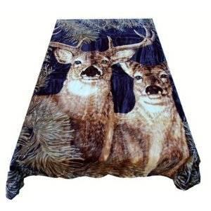 New Solaron Queen Size Deer Navy Korean Mink Blanket