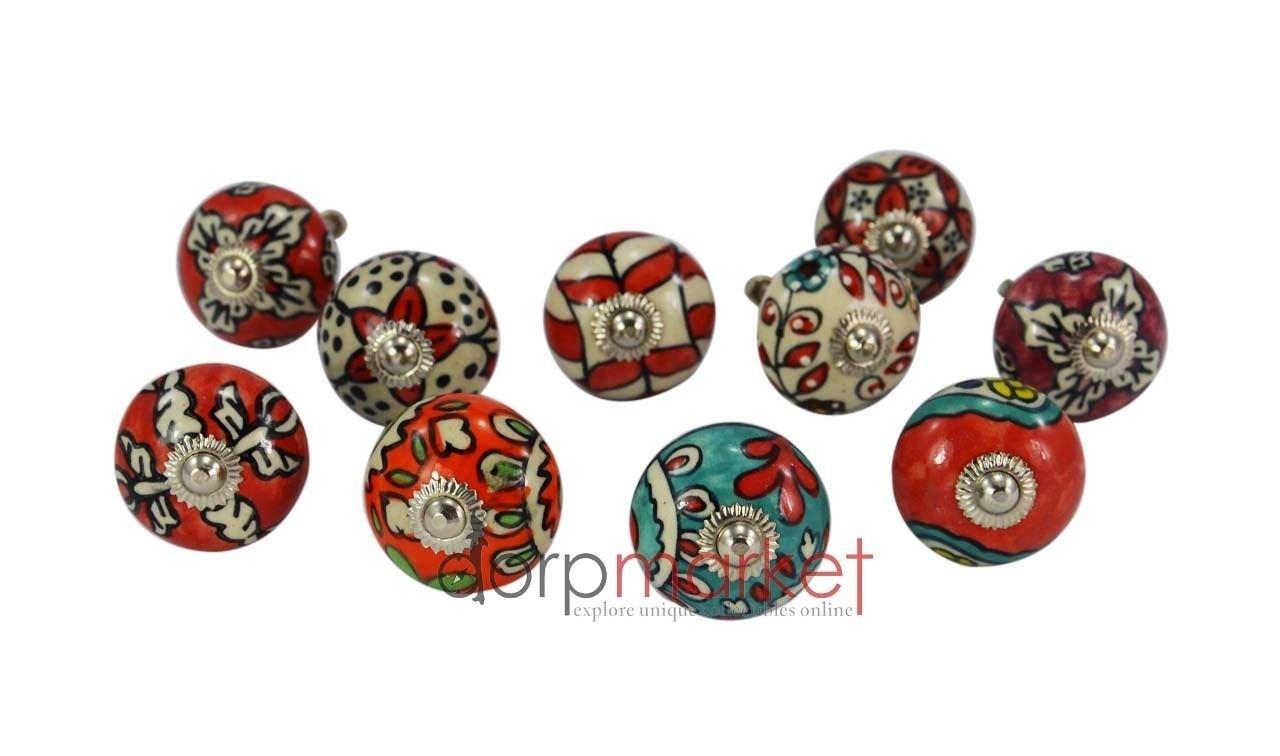 Dorpmarket Ornate Red Floral Ceramic Knobs For Cabinets & Cupboards /ITEM#HGO-IW 73ET214394