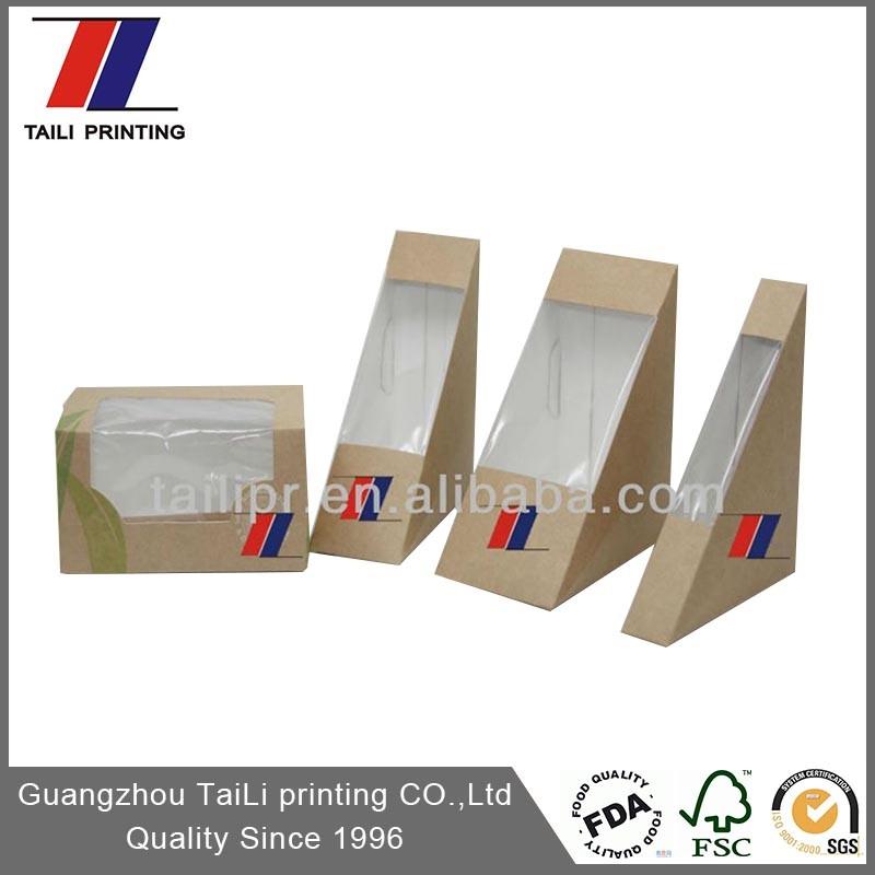 Hot Sale Disposable Triangle Paper Sandwich Box/kraft Paper ...