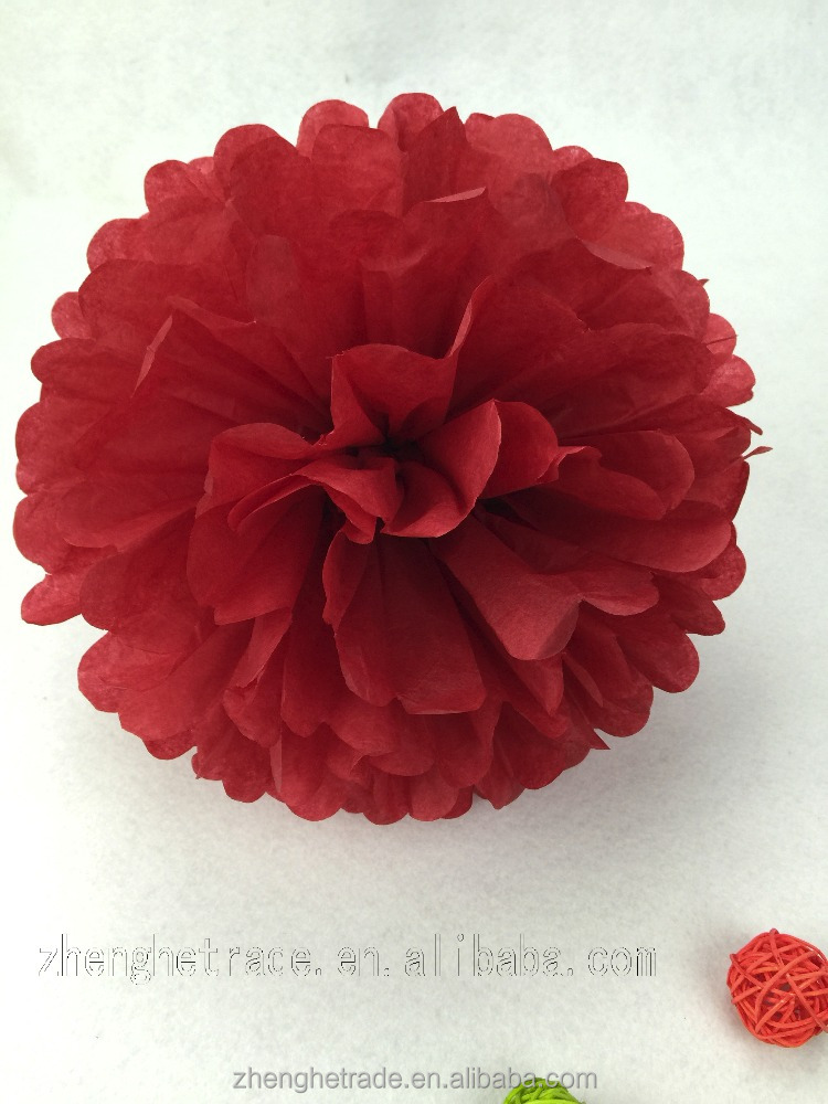 Dark red wedding and party decoration tissue paper pom poms