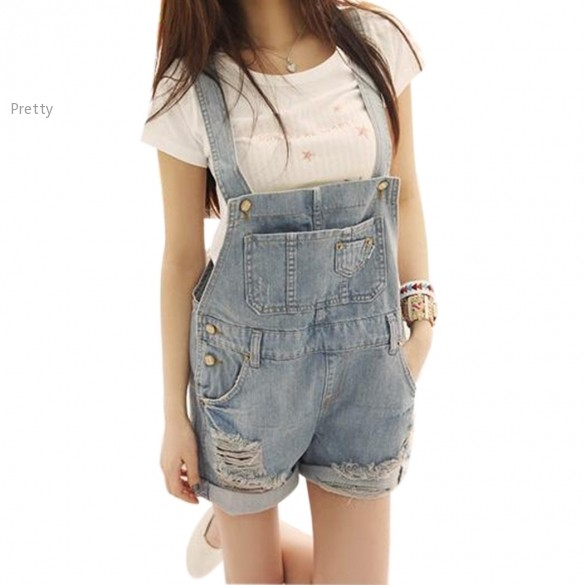 84e6782c9c65 Get Quotations · High Quality Overalls Washed Jeans With Braces Playsuit  Casual Jumpsuit Women Denim Rompers Women Suspender Trousers