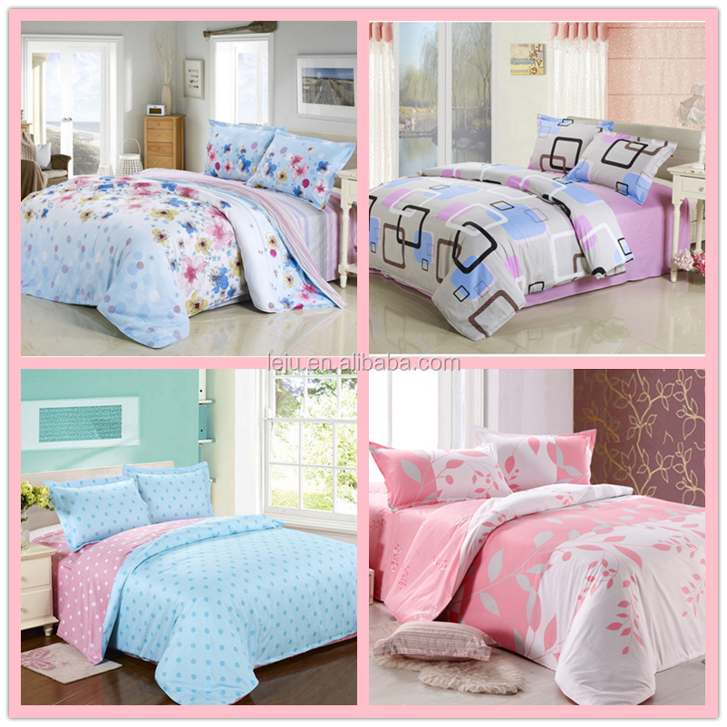 Spring New Fashion Design Cotton Bed Sheets Sets with Flat sheet, Pillow Cover, Fitted Sheet