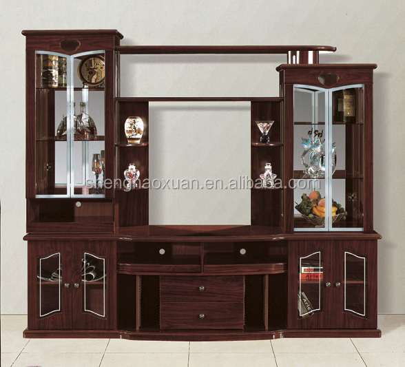 India market living room furniture lcd tv wall units 808 for Wall hanging showcase designs