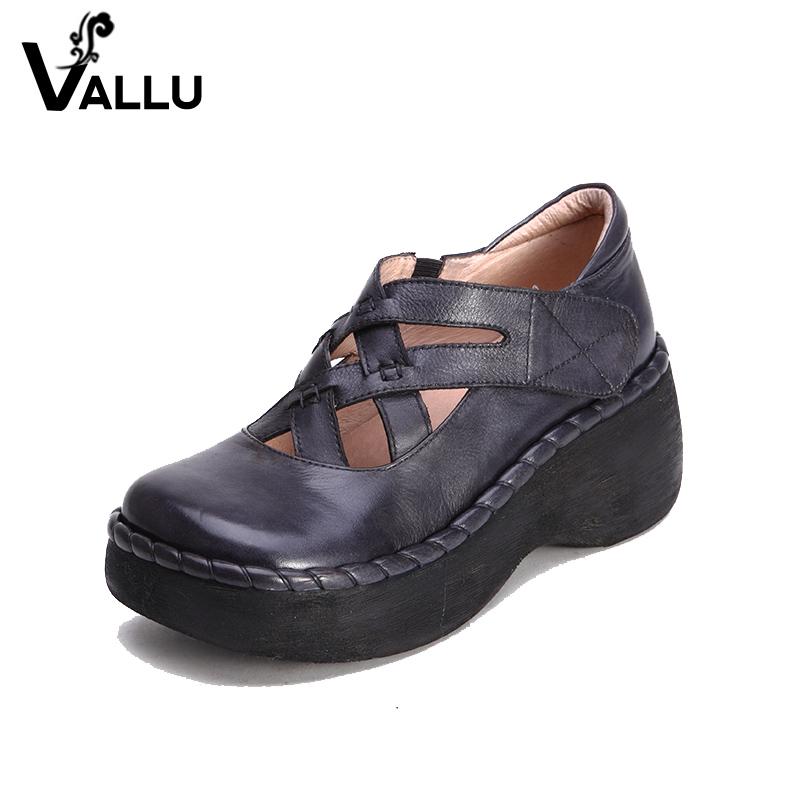 heel leather handmade genuine women's chunky lady platform pumps high heel shoes ftnqOn