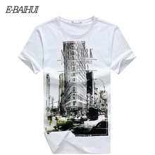 Free Shipping 2015 Spring Fashion E-BAIHUI  Slim Fit Hip Hop Short Sleeve Tshirt New York Fitness  T-shirt Skate Camisetas Swag
