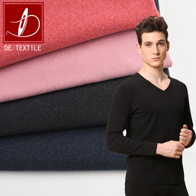 heat-tech cationic polyester spandex fabric double side peached brushed fleece for warmth thermal underwear
