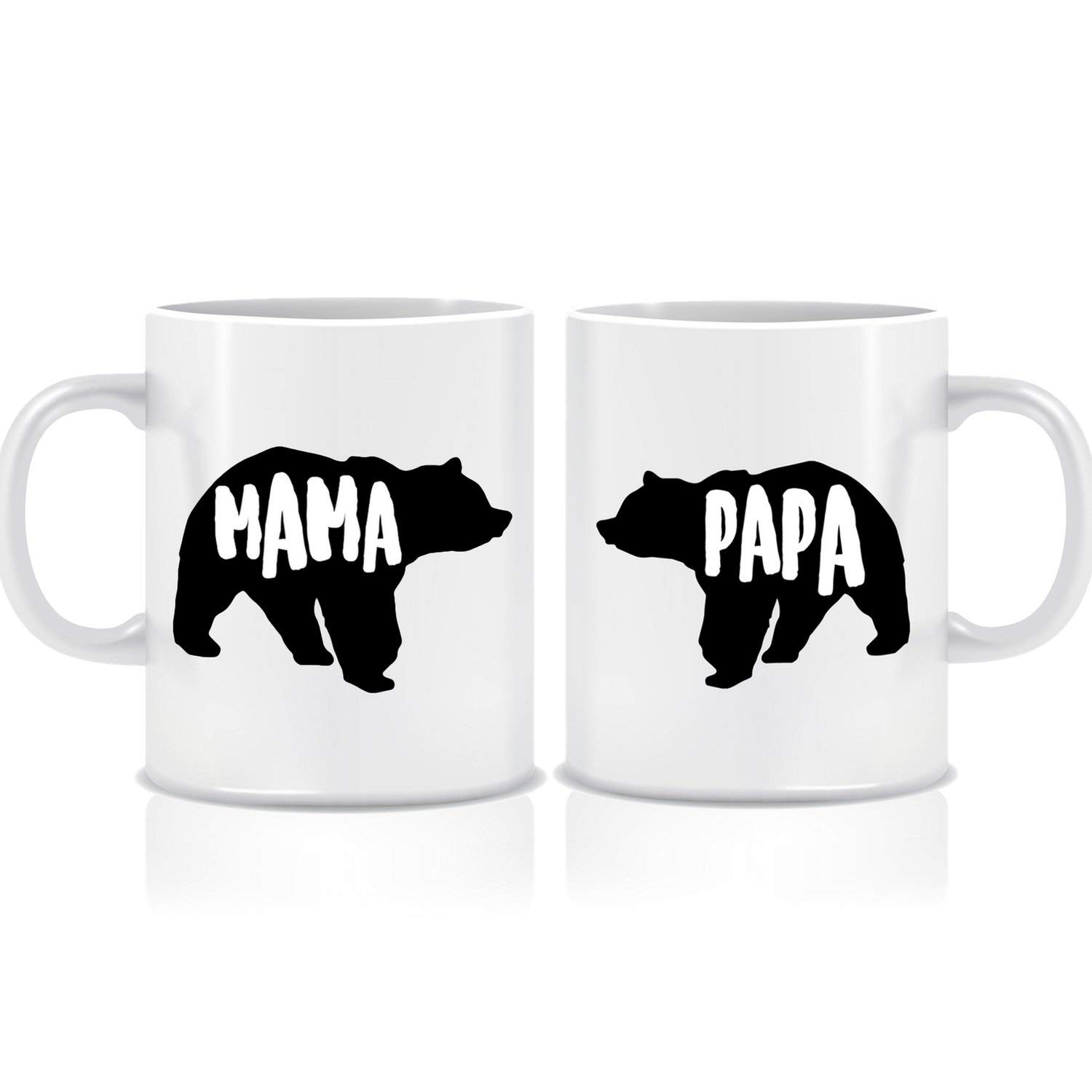 American Wit Novelty Mug Set for Mom and Dad, 11 oz. Mama & Papa Bear Mugs, Unique His & Hers Ceramic Couple Mug, His & Her White Coffee Mug, Funny Ceramic Mug Sets for Mother's Day by