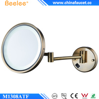 Beelee M1308TF Antique Brass Wall Mounted Folding Magnifying Bathroom Mirror with LED Lighted