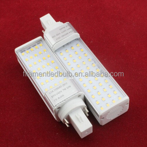 Aluminum body 220v warm white pl 7w g24d 3 led