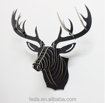 Wooden Animal Head Deer For Wall Decoration