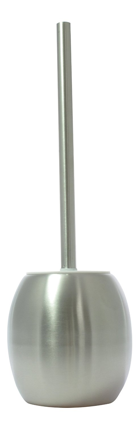 JustNile Luxurious Stainless Steel Toilet Bowl Brush & Holder; Decorative Smooth Surface Caddy & Perfect for Cleaning; Unique, Compact & Sleek Design for Bathroom/Washroom - Silver w/ EXTRA Brushhead