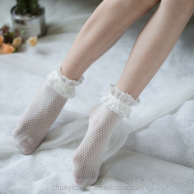 Sexy Fishnet cute funny korean custom crew lace jacquard colored ankle socks women