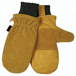 Fleece and foam lined split Cowhide Leather low temperature Work glove Mitten