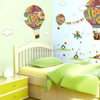 Creative Cartoon Hot Air Balloon Wall Decal Kids Room Wall Decoration  Stickers Waterproof Removable Wall Stickers