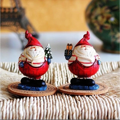 Resin Santa Claus 2PCS/LOT European pastoral Style Home furnishing articles Figurine Christmas Decorations Birthday Gifts