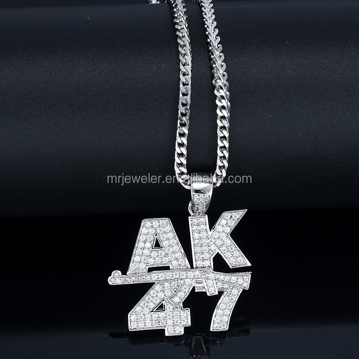 Miss Jewelry hiphop CZ iced out ak47 gun necklace pendant