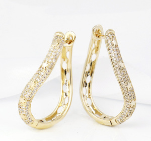 Latest Model Brazilian Fashion Jewelry 18K Gold Plated Big Oxidized Simple Hoop Earrings for Women