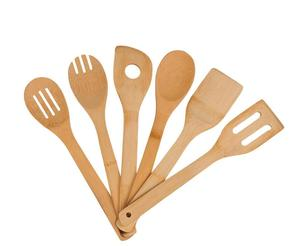 Bamboo 6 Piece Utensil Set,Wooden Cooking Spoons and Spatulas for Kitchen Tools,Perfect for Nonstick Pan and Cookware