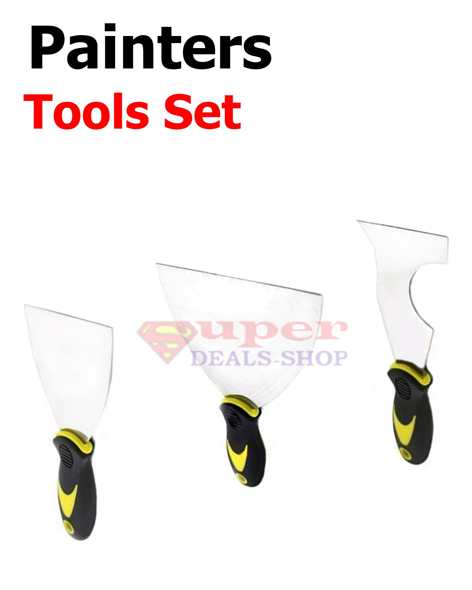 """3 Pcs Professional Painter Tool Set Stainless Steel Putty Knife Spreader / Remover / Scraper / Glazier Pocket Sized Wall Repair Multi Purpose 3"""" + 5""""+ 3"""" 5-in-1 Hand Tool Super-Deals-Shop"""