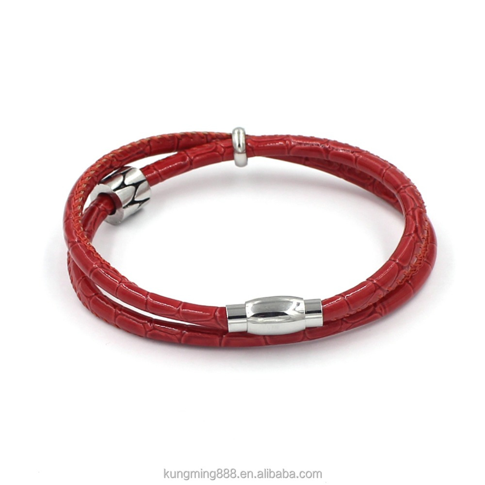 popular stainless steel magnetic clasp mens wrap double leather bracelets