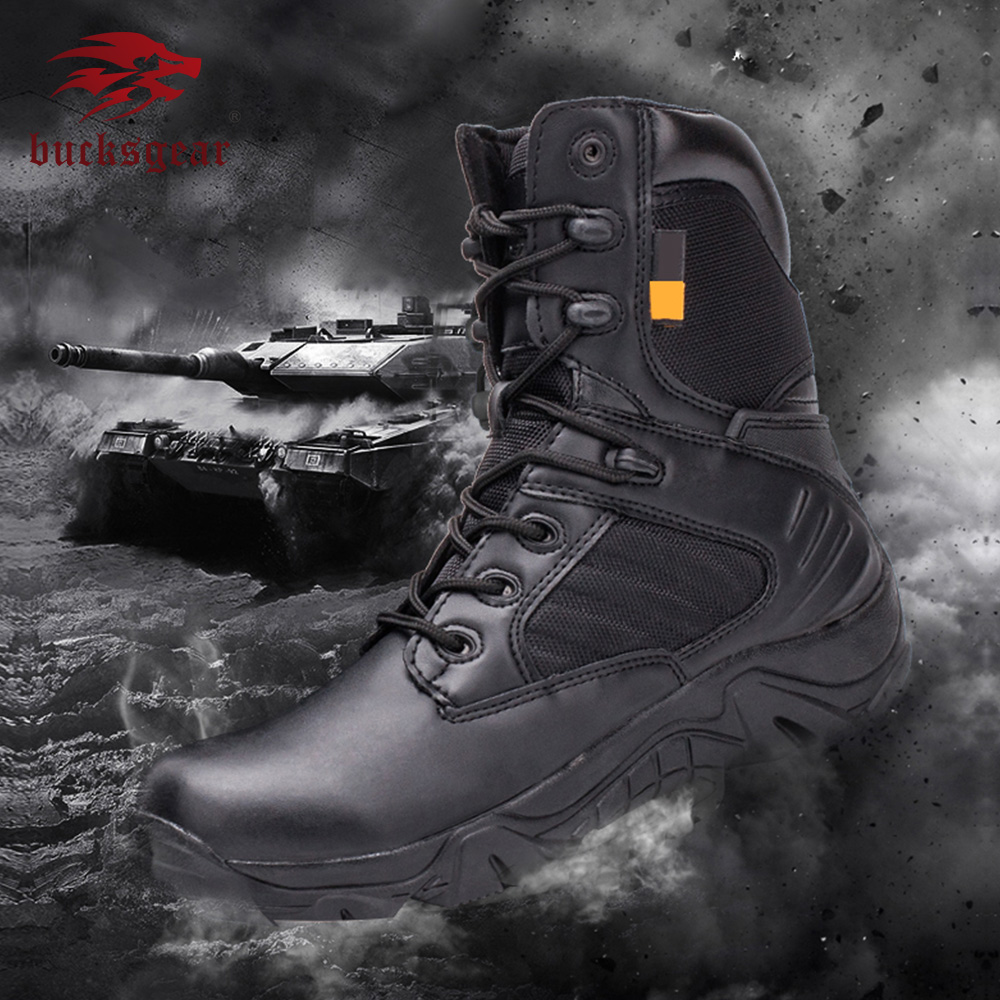 Bucksgear American Black Genuine Leather Winter Woodland Tactical Riding Army Military Ranger Boots For Men