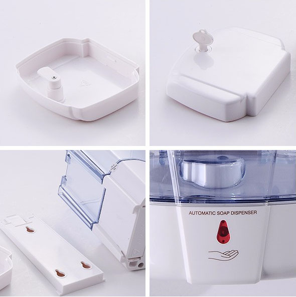 Simple wall mounted automatic plastic toilet bathroom liquid 800 ml kitchen soap dispenser