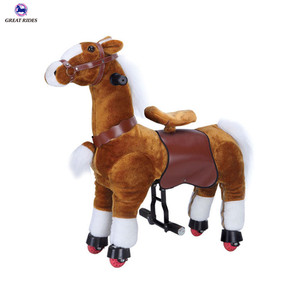 Cheap price kids toy walking animal pony rides plush riding horse for sale