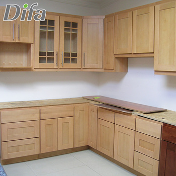 Custom Wooden Cheap Kitchen Furniture,Modular Solid Wood Kitchen Cabinet  Set,Chinese Factory Kitchen