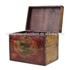 Chinese red solid wood small trunk antique box